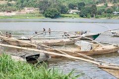 Tradycyjnego rybaka jeziorna Kivu łódź przy Gisenyi Obraz Royalty Free