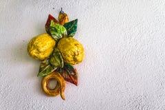 Tradycyjnej cytryny dekoraci Ceramiczna włoszczyzna obraz stock