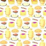 Tradycyjnej Rosyjskiej kuchni tła kultury naczynia jedzenia bezszwowy deseniowy kursowy powitanie Rosja wyśmienity krajowy posiłe ilustracji