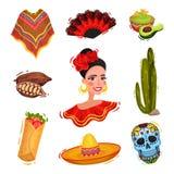 Tradycyjni świąteczni Meksykańscy rekwizyty Święta narodowego pojęcie royalty ilustracja