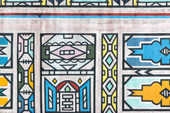 Tradycyjni afrykanina Ndebele wzory na ścianie Zdjęcie Stock