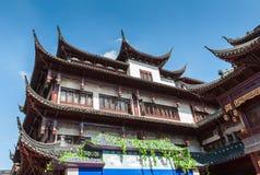 Tradycyjni Chińskie dom z pięknymi rzeźbiącymi dachami w Shangha zdjęcia stock