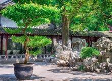 Tradycyjni Chińskie ogród z skałami i drzewami przy Yu ogródami, Szanghaj, Chiny zdjęcia royalty free