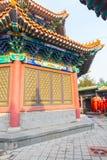 Tradycyjni Chi?skie pawilon w kompleksie nanshan ?wi?tynia przy Longkou miastem w Lushan g?rze w Shandong i architektura zdjęcia royalty free