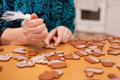 Tradycyjni domowej roboty boże narodzenia piernikowi Zdjęcie Royalty Free