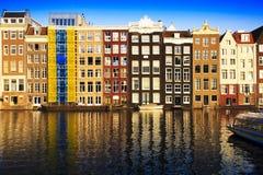 Tradycyjni domy Amsterdam, holandie Zdjęcie Royalty Free