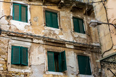 Tradycyjni domy w Corfu wyspie, Grecja Fotografia Royalty Free