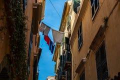 Tradycyjni domy w Corfu wyspie, Grecja Zdjęcia Royalty Free