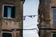 Tradycyjni domy w Corfu wyspie, Grecja Zdjęcie Stock