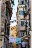 Tradycyjni domy w Corfu wyspie, Grecja Obrazy Royalty Free