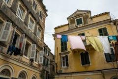 Tradycyjni domy w Corfu wyspie, Grecja Obrazy Stock