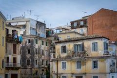 Tradycyjni domy w Corfu wyspie, Grecja Zdjęcie Royalty Free
