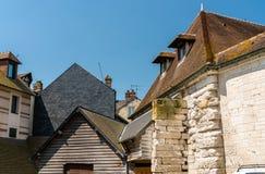 Tradycyjni domy w Honfleur france Normandia Obrazy Royalty Free