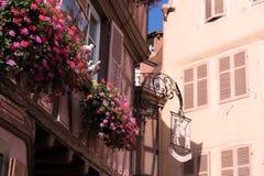Tradycyjni drewniani domy w Colmar, Francja Zdjęcie Stock