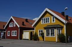 Tradycyjni drewniani domy w Karlskrona, Szwecja Zdjęcie Royalty Free