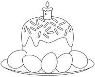 Tradycyjni Easter torta świeczki jajka na półkowej ikonie Obraz Royalty Free