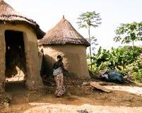 Tradycyjni Ewe wioski ludzie, Tatale region, Togo obraz stock