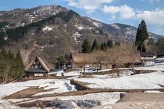 Tradycyjni Gassho Zukuri domy w Japonia Alps obraz stock