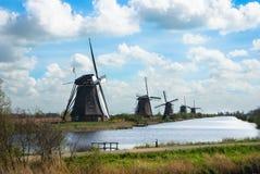 Tradycyjni holenderscy wiatraczki, retro styl Obrazy Stock