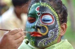 Tradycyjni Indiańscy obrazów projekty na twarzy Obrazy Stock