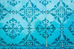 Tradycyjni kolorowi azulejos w Lisbon, Portugalia - błękit płytki zdjęcie stock