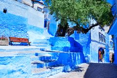 Tradycyjni marokańscy architektoniczni szczegóły w Chefchaouen, Moroc fotografia royalty free