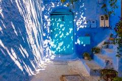 Tradycyjni marokańscy architektoniczni szczegóły w Chefchaouen Morocc zdjęcie royalty free