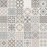 Tradycyjni ozdobni portuguese dekoracyjni płytek azulejos abstrakcyjny tło Wektorowa ręka rysująca ilustracja, typowa Zdjęcia Stock