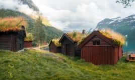 Tradycyjni scandinavian starzy drewniani domy fotografia royalty free