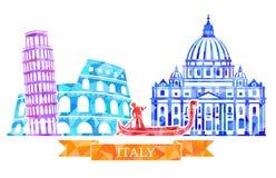 Tradycyjni symbole Włochy w poligonalnym stylu Colosseum, oparty wierza, gondolier, St Peter s katedra ilustracja wektor