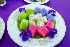 Tradycyjni tajlandzcy desery, Kolorowi Tajlandzki odparowany warstwa tort Obraz Royalty Free
