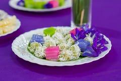 Tradycyjni tajlandzcy desery, Kolorowi Tajlandzki odparowany warstwa tort Obrazy Royalty Free
