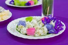 Tradycyjni tajlandzcy desery, Kolorowi Tajlandzki odparowany warstwa tort Fotografia Royalty Free
