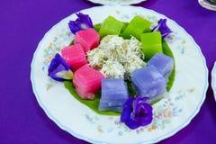 Tradycyjni tajlandzcy desery, Kolorowi Tajlandzki odparowany warstwa tort Obrazy Stock