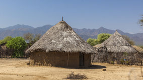 Tradycyjni tsemay domy Omo dolina Etiopia Fotografia Royalty Free