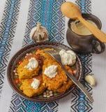 Tradycyjni Ukraińscy domowej roboty kartoflani bliny (draniks) Obrazy Stock