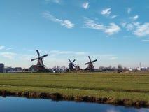 tradycyjni wiatraczki typowi zaanse schans w Holland fotografia royalty free