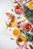 Tradycyjni zima napoje, biel i czerwień, rozmyślali wino zdjęcia stock