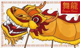 Tradycyjny Żółty Chiński smoka taniec z confetti dla nowego roku, Wektorowa ilustracja ilustracja wektor