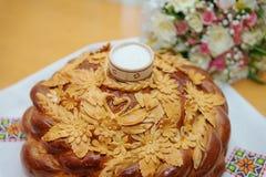Tradycyjny ślubny chleb z solą fotografia stock