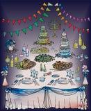 Tradycyjny Żydowskiego ślubu menorah zmroku tło ilustracji