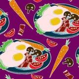 Tradycyjny Angielski śniadanie, Bekonowy, i jajka na talerzu z plasterkami pomidory, szampinion pieczarki, marchewka i sałata, ilustracja wektor