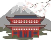 Tradycyjny azjaty dom z okwitnięcie górą i wiśnią Kolor odosobniona wektorowa ilustracja royalty ilustracja