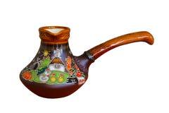 Tradycyjny barwiony garncarstwo, malujący ceramiczny kawowy garnek zdjęcia stock