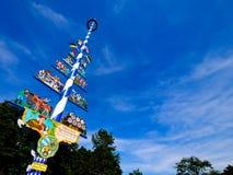 Tradycyjny Bawarski maypole, Niemcy Zdjęcie Royalty Free