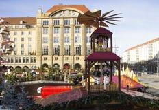 Tradycyjny boże narodzenie rynek w Drezdeńskim, Niemcy Zdjęcie Royalty Free