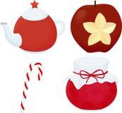 Tradycyjny bożego narodzenia deserowy ustawiający z teaport, cukierkiem i jabłkiem, Zdjęcie Stock