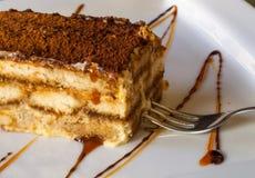 Tradycyjny bogaty tiramisu tort z cynamonem, car obraz stock