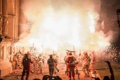 Tradycyjny correfoc i diabłów występ Zdjęcie Stock