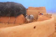 Tradycyjny dom w ranek mgle, Thar pustynia, India Zdjęcie Stock